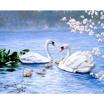 5D Diamond Painting Swans and their Cygnets Kit