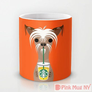 Personalized mug cup designed PinkMugNY - I love Starbucks - Chinese Crested