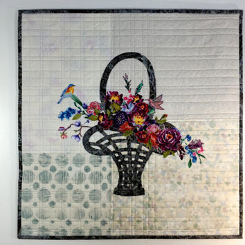 Flower Basket Art Quilt - Floral -  Quilted Wall Hanging - Fiber Art - Birds and Flowers - Mother's Day Gift - Sally Manke Fiber Artist