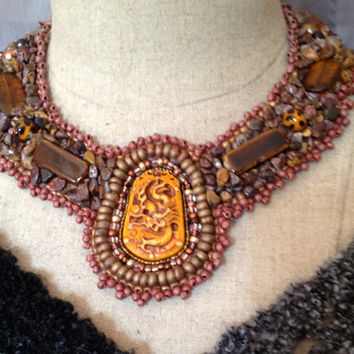 Boho Style, Beaded Collar, Necklace, Asian Carved Focal Bead, Jasper Nuggets