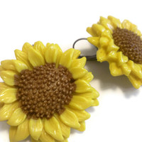Sunflower Earrings, Polymer Clay Jewelry, Yellow Flower, French Clips, Unique Fall Season Accessory