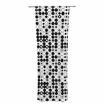 "Nandita Singh ""Black & White Funny Polka Dots"" White Abstract Decorative Sheer Curtain"