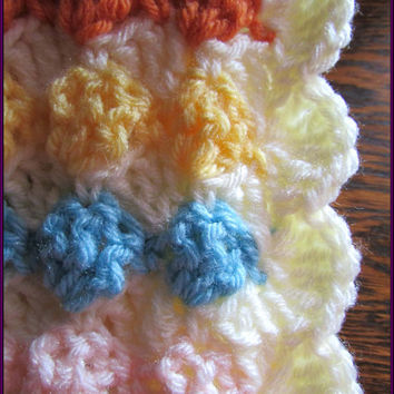 Hand Crocheted Reversible Baby Blanket Ready for Mailing / Multi Colors and Cream