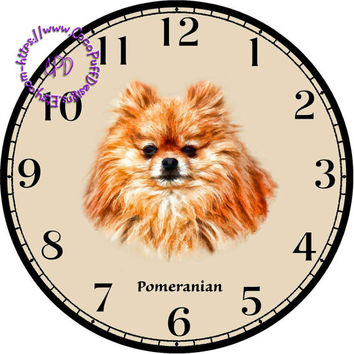 """Red Pomeranian Dog Art - -DIY Digital Collage - 12.5"""" DIA for 12"""" Clock Face Art - Crafts Projects"""