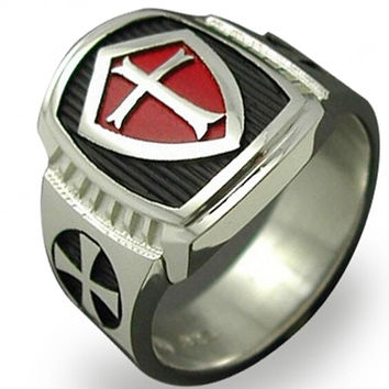 Knight Templar Crusader Cross Ring - Size 7-15 Stainless Steel - Red Armor Shield - Medieval Signet