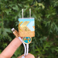 Gold & teal iphone 5/6 charger
