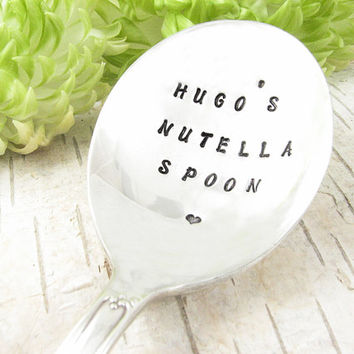 Personalized Spoon. Great Gift for the Nutella Lover. Customized with Your Name. Hand Stamped Vintage Silverware by Dazzling Dezignz. 522SP