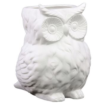 Ceramic Matte Finish White Owl Figurine Vase