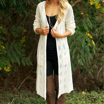 Long Open Knit Cardigan