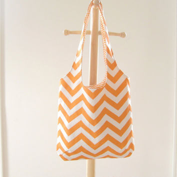 Orange Chevron Bag, Small Chevron Tote, Slouchy Bag, Chevron Purse, Ready to Ship