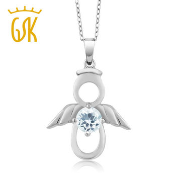 GemStoneKing 925 Sterling Silver Angel Pendant Necklace For Women0.40 Ct Round Natural Sky Blue Aquamarine  Fine Jewelry