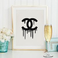 Coco Chanel Logo, Wall Decor, Instant Download, Bedroom Decor, Printable, Chanel Logo, Fashion Print, Coco Chanel Print,Chic poster