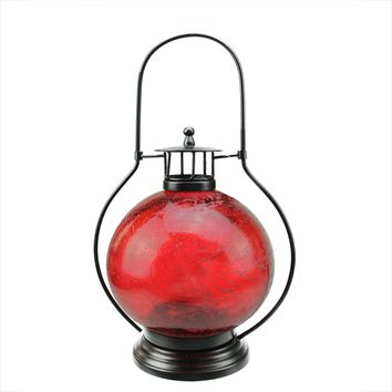 "14.5"" Distressed Red Artifact Glass Tea Light Candle Holder Lantern Decoration"