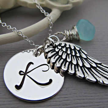 Hand Stamped Initial Necklace, Personalized Mommy Jewelry, Angel Wing Necklace, March Birthstone Aquamarine
