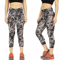 Camo Capri Workout Leggings Size  S-XXXL in 2 Colors