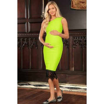 Neon Yellow Stretchy One-Shoulder Bodycon Midi Dress - Women Maternity