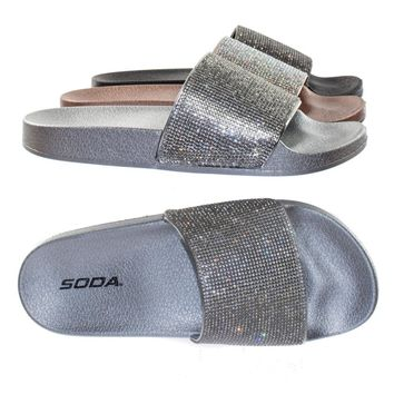 Sylvia by Soda Poolside Slide Rhinestone Crystal Embelisshed Slide-On Molded Footbed