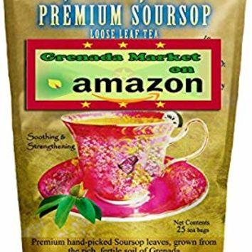 Soursop - 25 Tea Bags (Natural Loose Leaf Tea) - Product of Grenada, Caribbean
