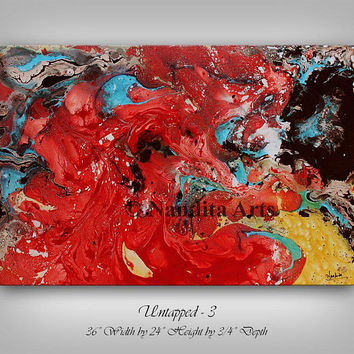 "Modern Wall Art Original Oil painting 36"" Red Gold Modern Painting Turquoise Artwork Multi Color Contemporary Art home decor wall hanging"