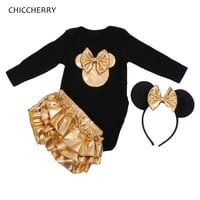 Fantasia Minnie New Born Girls Clothing Sets Bodysuit Baby Bloomers Headband Baby Girl Clothes