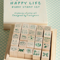 Kawaii Wooden Stamps Set|Happy Life Diary|Planner Stamps | Erin Condren Planner Stamp Set |25 Mini Stamp Set |Mini Planner Stamps |K30.15