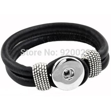 P00003  10color Snap Button Bracelet&Bangles Newest real leather Bracelet For Women 18mm charm button Rivca Snap Button Jewelry