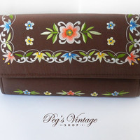 Vintage Brown Clutch, Floral Embroidered Wallet, Ladies Wallet Clutch Purse