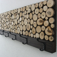 Maple Wood Slice Rustic Wood Coat Rack Towel by ModernRusticArt