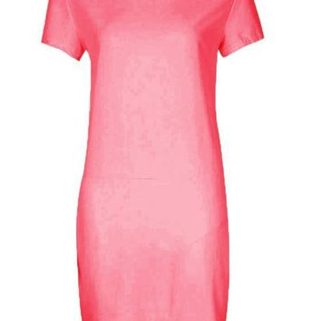 Rose Carmine Cut Out Round Neck Short Sleeve Mini Dress
