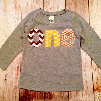 orange yellow chevron brown circle-  grey birthday shirt 1st one Birthday Number kids Fall Pumpkin Thanksgiving Turkey long sleeve heather
