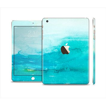 The Grungy Blue Watercolor Surface Full Body Skin Set for the Apple iPad Mini 3