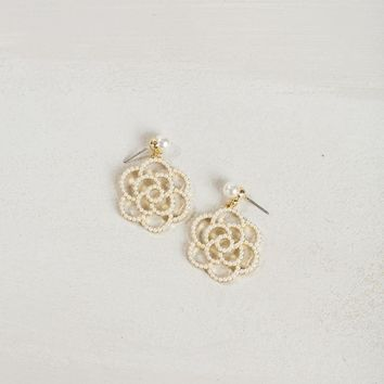 Kenley Pearl Rose Earrings