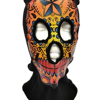 Sugar Skull Print Halloween Beanie Mask Adult