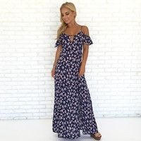 Dainty Daisy Floral Maxi Dress in Navy Blue