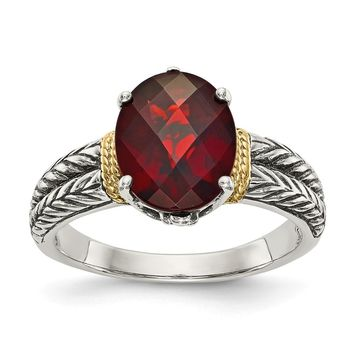 Sterling Silver Two Tone Silver And Gold Plated Sterling Silver w/Garnet Ring