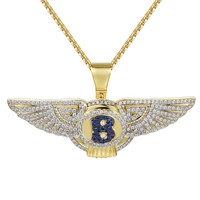 "Luxury Car logo Wings Blue Symbol Pendant 24"" Necklace"