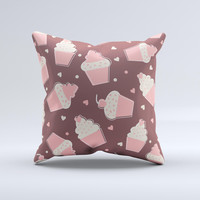 Pink Outlined Cupcake Pattern  Ink-Fuzed Decorative Throw Pillow