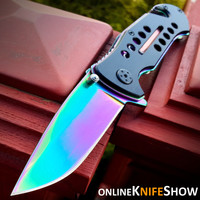 TAC-FORCE TACTICAL RAINBOW SPRING ASSISTED FOLDING KNIFE Black Open Pocket Blade