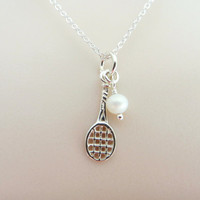Sterling Silver Tennis Necklace - Tennis Racket and Pearl Pendant