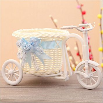 3 Colors Tricycle Bicycle Flower Basket Vase Handmade Platic Baskets Home Decor Garden Wedding Party Decoration Flower Holder