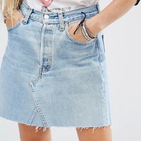 Reclaimed Vintage Raw Hem Denim Skirt