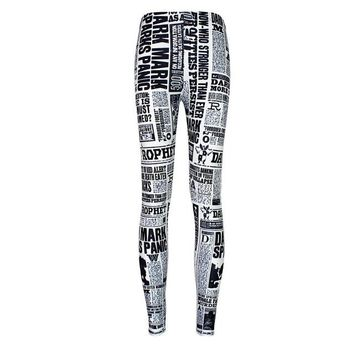 Newspaper Print - Women's Leggings
