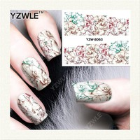 YZWLE 1 Sheet DIY Decals Nails Art Water Transfer Printing Stickers Accessories For Manicure Salon  YZW-8063