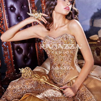 BEADED STRAPLESS QUINCEANERA DRESS BY RAGAZZA FASHION STYLE B67-367