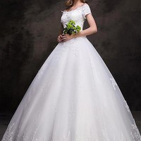 [149.99] Elegent Tulle Off-the-shoulder Neckline Ball Gown Wedding Dresses With Sequin Lace Appliques - dressilyme.com