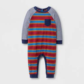 Baby Boys' Striped Knit Romper - Cat & Jack™ Red Ribbon