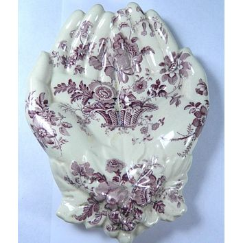 Purple English Transferware Charlotte Floral Open Hands Soap Dish Tray Staffordshire Hand Shaped Trinket