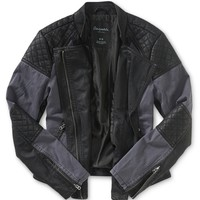 Vegan Leather Paneled Moto Jacket