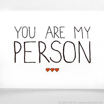 Valentines Card. You Are My Person. Black with Red Hearts.
