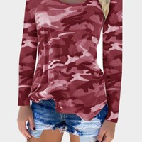 Red Camouflage Round Neck Long Sleeve T-Shirt